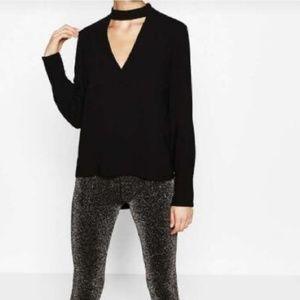 26600f7facf laveliq · Long sleeve v neck choker black blouse